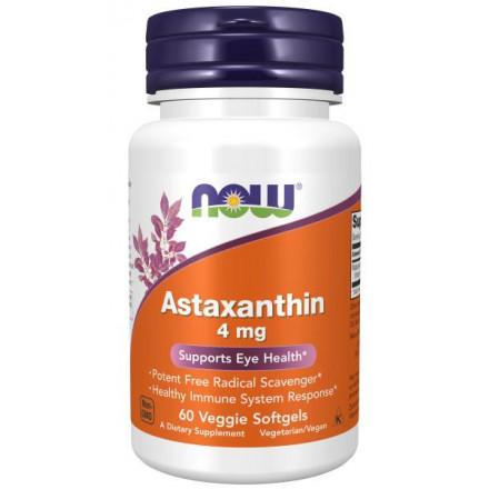 Капсульні вітаміни NOW ASTAXANTHIN / АСТАКСАНТИН 4мг у м'яких капсулах, 60 шт