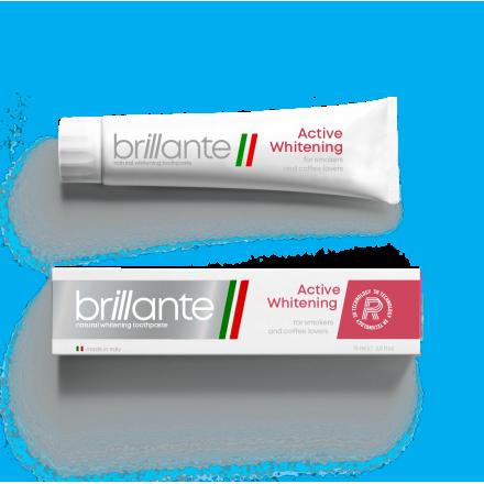 Зубна паста доросла Brillante Active Whitening для курців та цінителів кави, 75 мл