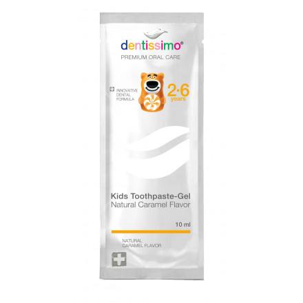 Сашет Зубна паста для дітей (2-6 років), 10мл Dentissimo Kids With Caramel Aroma