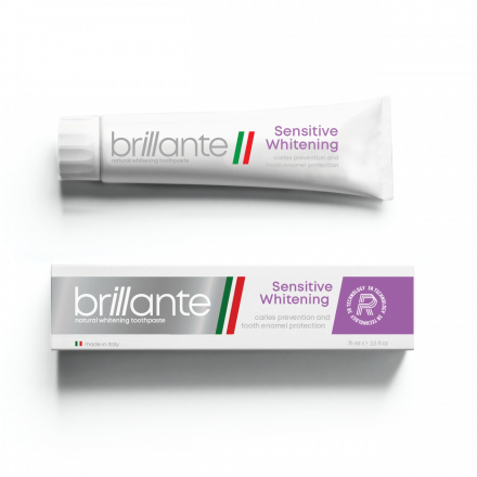 Зубна паста доросла Brillante Sensitive Whitening профілактика карієсу, 75 мл