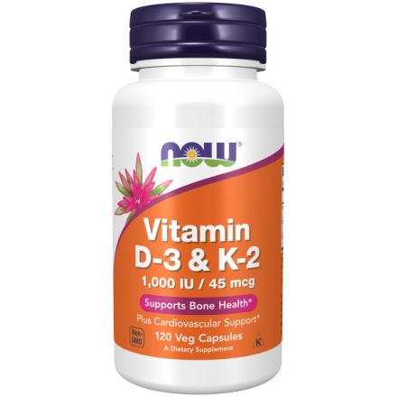 Капсульні вітаміни NOW ВІТАМІН D-3/К-2 1000 МО/45мкг у капсулах, 120 шт